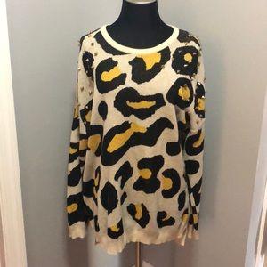 Forever 21 Leopard Embellished Sweater Hi-Lo L